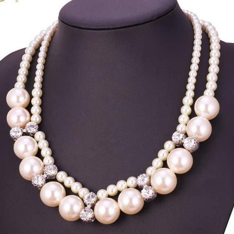White Pearl Two Layer Maxi Necklace - CandM Online Store