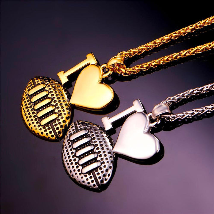 "I Love Football"" Pendant Necklace Unisex"
