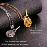 Stainless Steel Tennis Racket Pendant Necklace Unisex