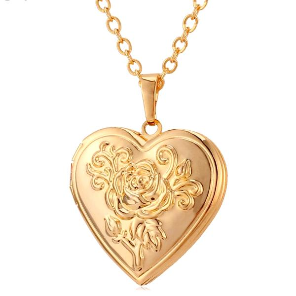 Locket Heart Necklace Silver/Gold Color Jewelry