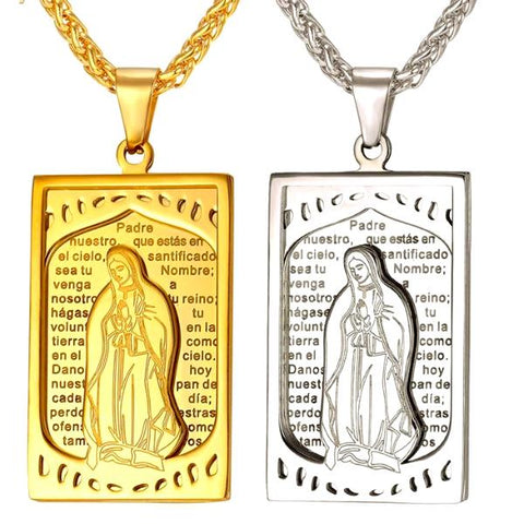 Mother Virgin Mary  Square Pendant Necklace - CandM Online Store