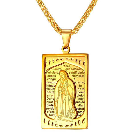 Mother Virgin Mary  Square Pendant Necklace