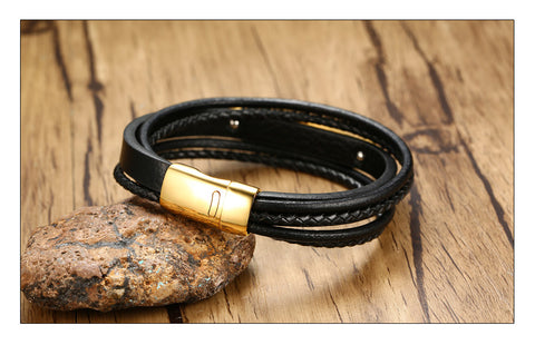 Laser Black Layered Braided Microfiber Leather ID Bracelet Stainless Steel and Free Engrave - CandM Online Store