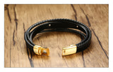 Laser Black Layered Braided Stainless Steel ID Bracelet and Free Engrave - CandM Online Store
