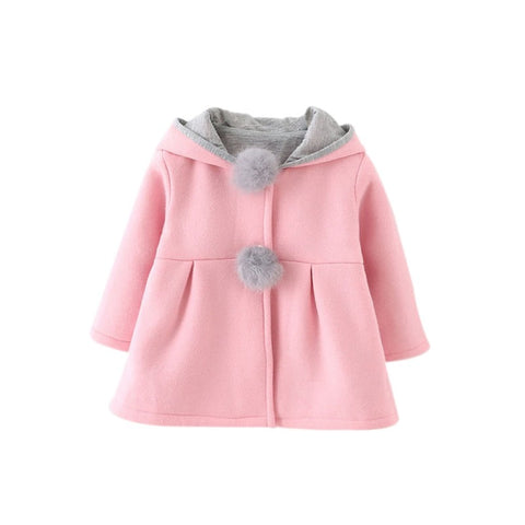 2017 Winter Spring Baby Girls Long Sleeve Coat Jacket Rabbit Ear Hoodie Casual Outerwear - CandM Online Store