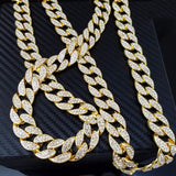 Rhinestone Crystal Cuban Link Chain Hip hop Necklace Jewelry