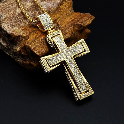 Cross Pendant Necklace Pave Rhinestones - CandM Online Store