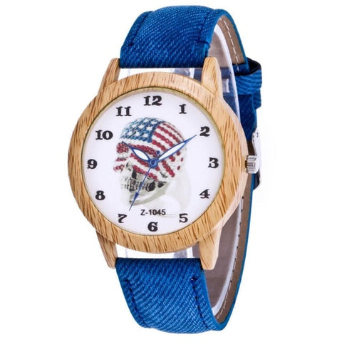 NEW Quartz Skull Head Watch Quartz Wristwatches With Wood Round Accent - CandM Online Store