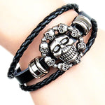Skull Heads Bracelets Charms PU Leather Cuff Bracelets - CandM Online Store