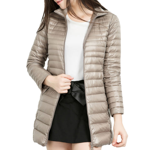 Women's Light weight Packable Down Coat Stand Collar Long Down Jacket light and medium long long collar jacket New Arrival 2019 - CandM Online Store
