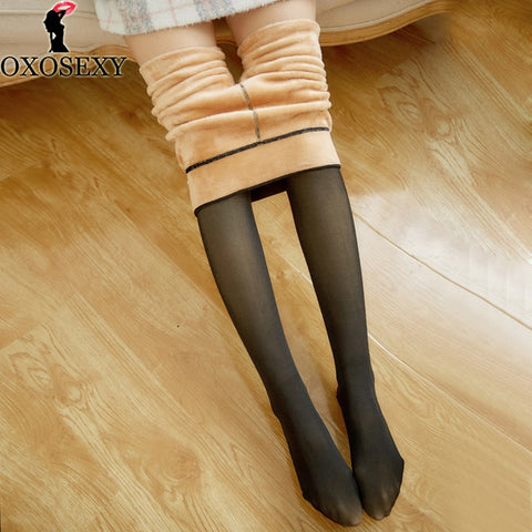 Black Imitation skin Women Tights Winter Pantyhose Transparent Elastic Sexy Tights Warm Thick Pantyhose for Girls Stockings 074 - CandM Online Store
