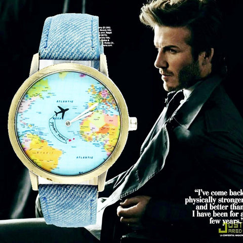 New Denim Fabric Band Global Travel By Plane Map Quartz Watch Unisex - CandM Online Store