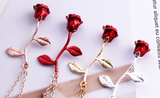 Women Fashion Jewelry Red Rose Flower Pendant Necklace Charm Silver Plated