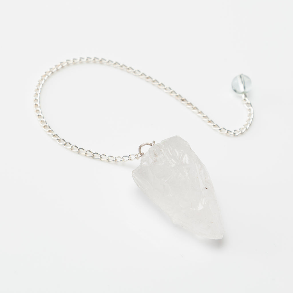 raw clear quartz pendulum