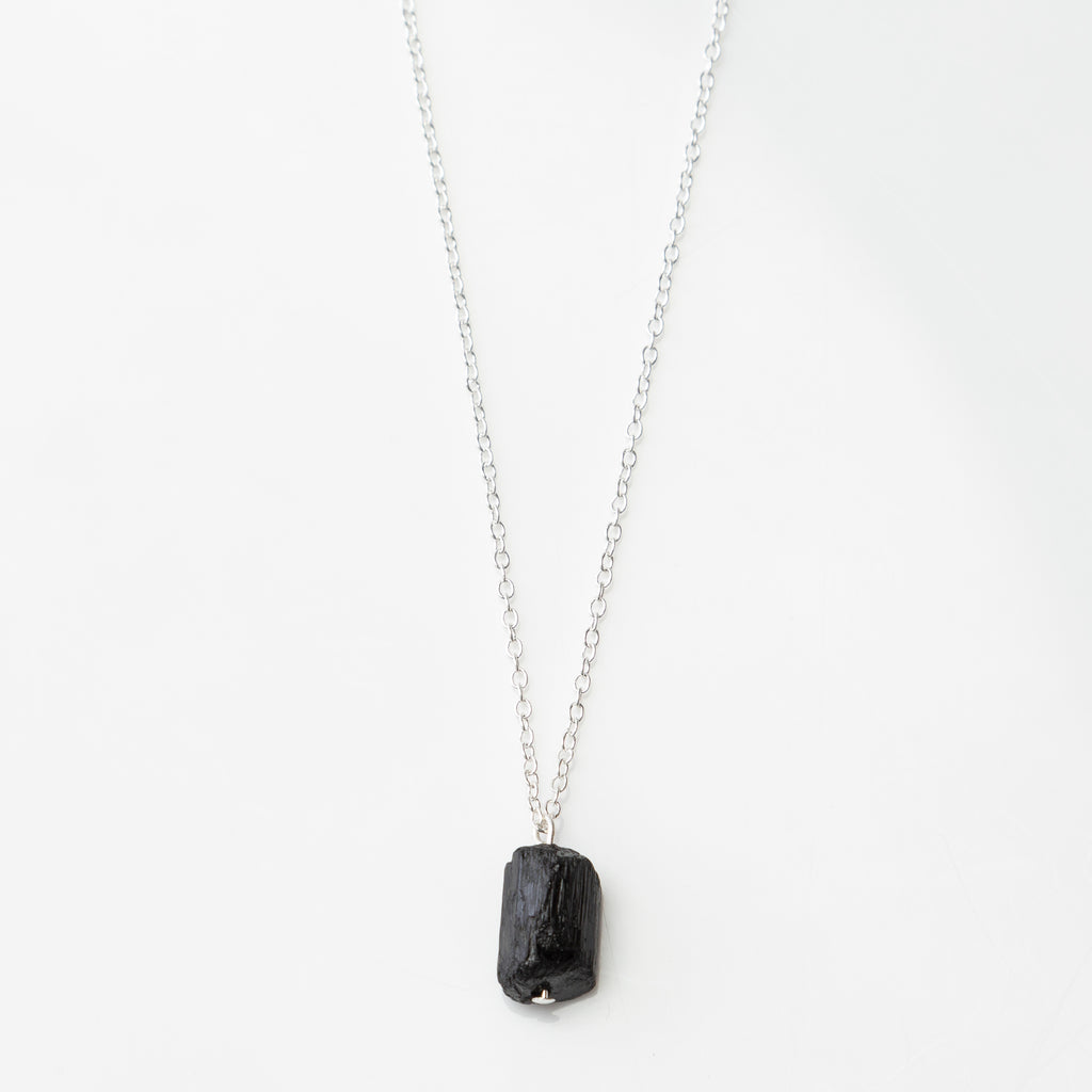 raw black tourmaline stone necklace
