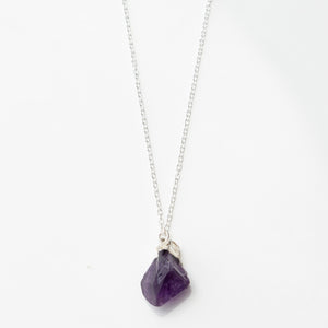 raw amethyst stone necklace