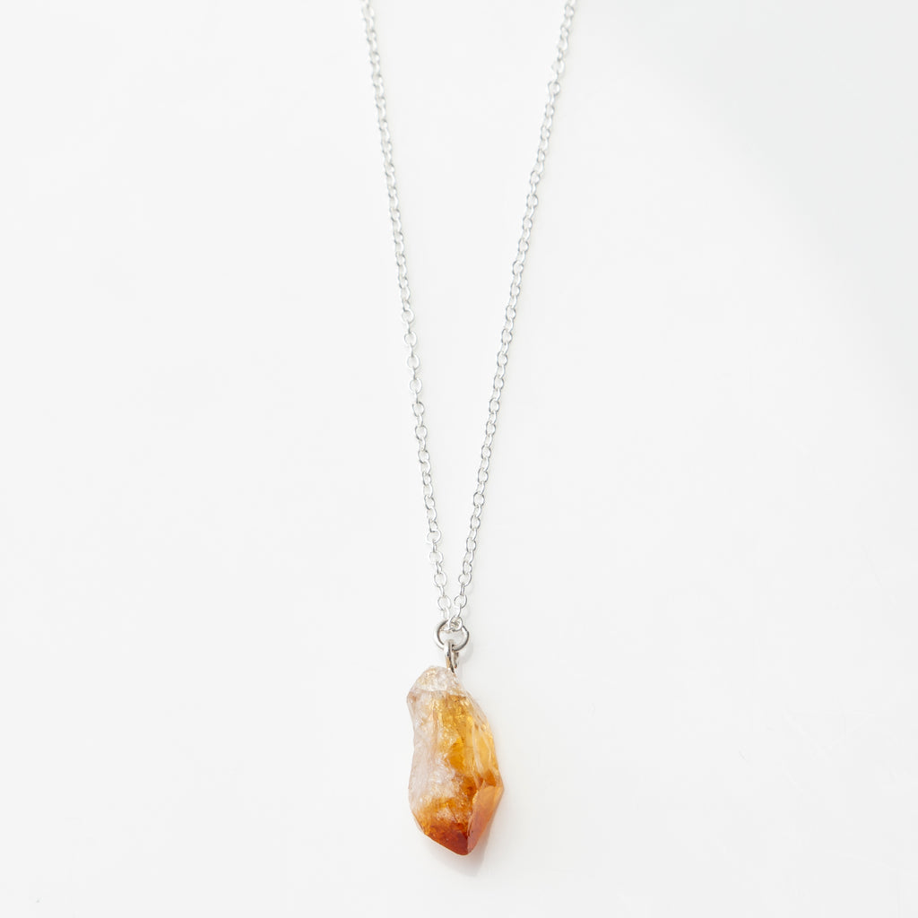raw citrine stone necklace