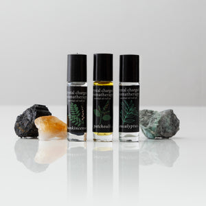 crystal charged essential oil roll-on's patchouli-frankincense-eucalyptus