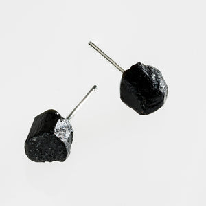 raw black tourmaline stone earrings