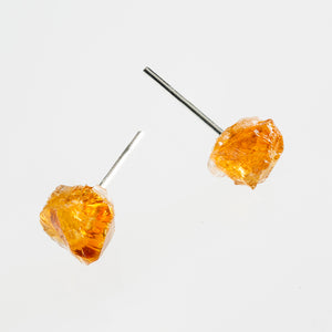 raw citrine stone earrings