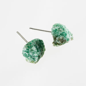 raw green aventurine stone earrings
