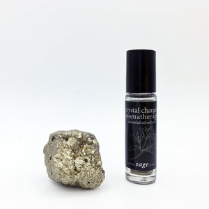 sage oil/pyrite crystal charged essential oil roll-on