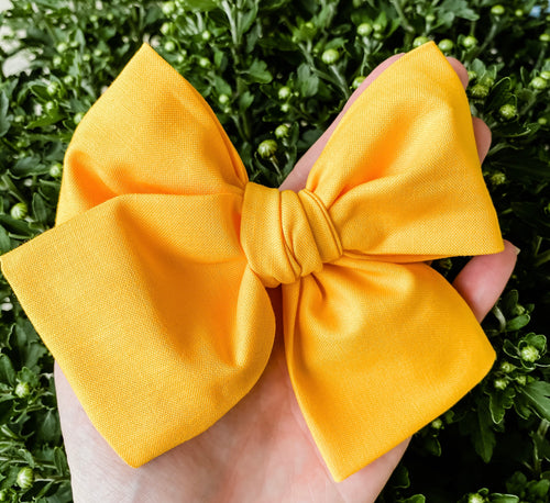 Fall Papaya Hand Tied Fabric Bow Headband | Hair Clip