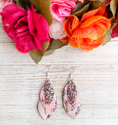 Floral Quadruple Layer Glitter Faux Leather Earrings