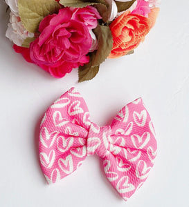 Valentine Pink with White Hearts Fabric Bow Headband | Hair Clip