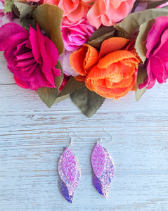 Pink Triple Layer Glitter Faux Leather Earrings