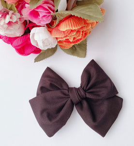Expresso Fabric Bow Headband | Hair Clip