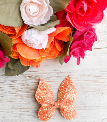 Orange Glitter Butterfly Bow Headband | Hair Clip