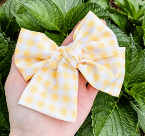 "Yellow Gingham Hand Tied 4"" Fabric Bow Headband 