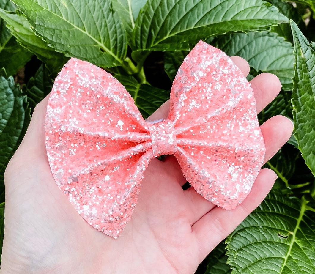 Frosted Coral Chunky Glitter Bow Headband | Hair Clip