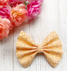 Peachy Orange Chunky Glitter Bow Headband | Hair Clip