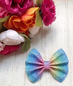 Rainbow Striped Frosted Chunky Glitter Bow Headband | Hair Clip