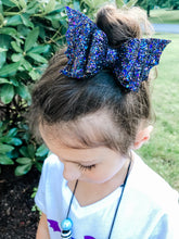 Halloween Dark Purple Bat Glitter Bow Headband | Hair Clip