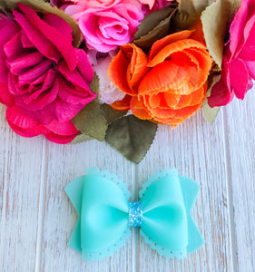 Scalloped Mint Jelly Pool Bow Headband | Hair Clip