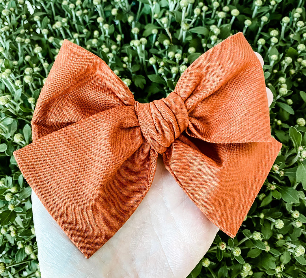 Fall Spice Hand Tied Fabric Bow Headband | Hair Clip