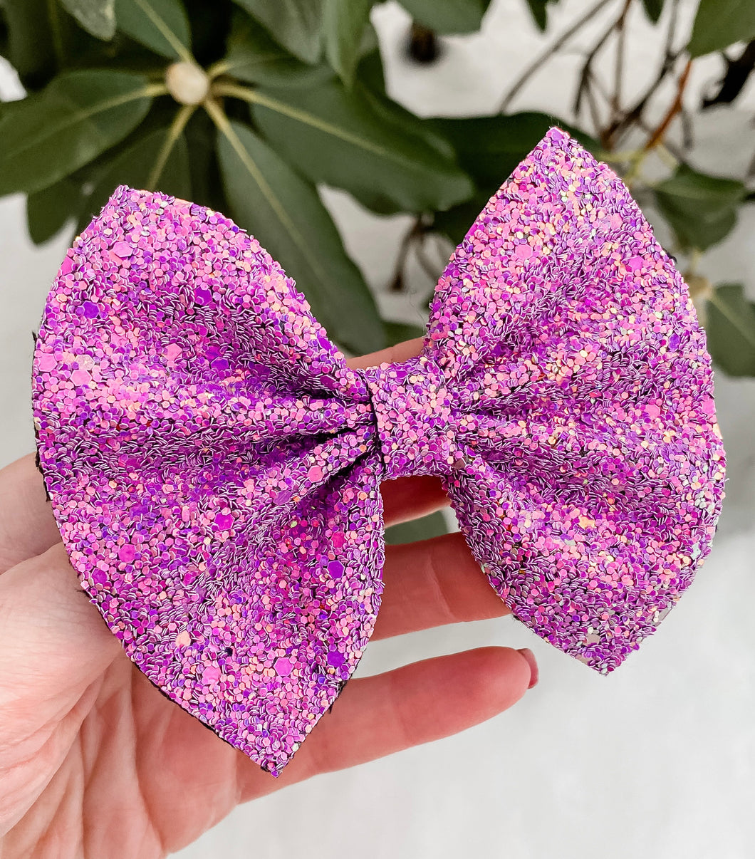 Purple Glitter Bow Headband | Hair Clip