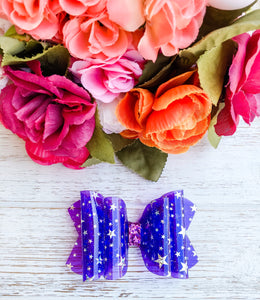 Purple Star Transparent Pool Glitter Bow Headband | Hair Clip
