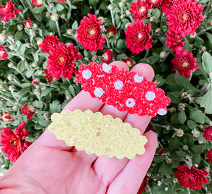 Scalloped Polka Dot & Yellow SET OF 2 Snap Clips