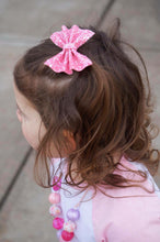 Frosted Bubblegum Pink Glitter Bow Headband | Hair Clip