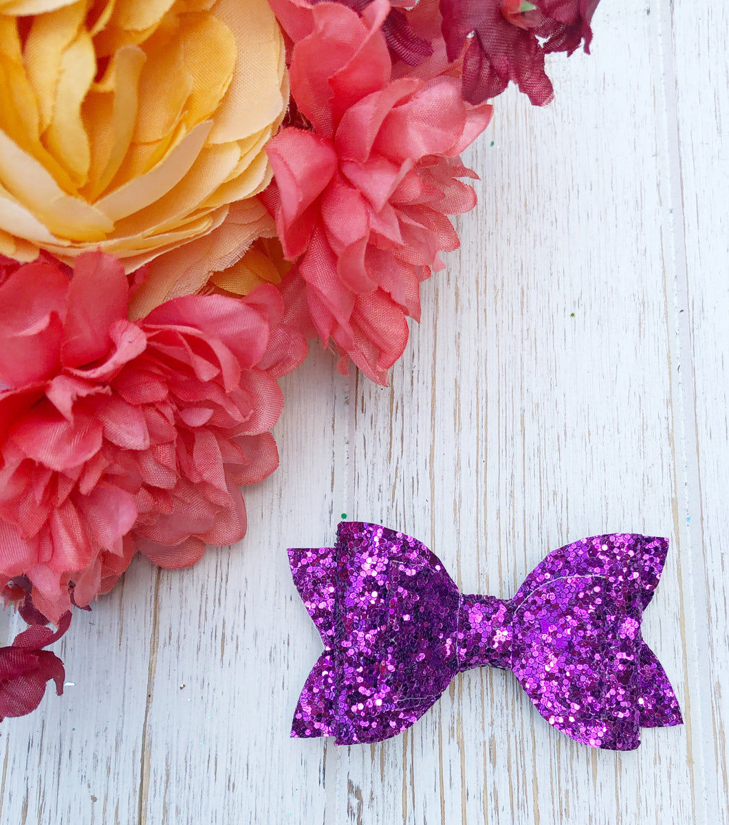 glitter, glitter bow, braid, hair clip, girl, toddler, bow, bows, headband, headbands, head wrap, baby, baby shower, baby photography, photography prop, girl hair style, hairstyles, Fabric Bow, faux leather bow, Hair bow, newborn bow, girls hair bow, toddler hair bow, newborn photography, hair accessory, baby girl, fall purple glitter bow