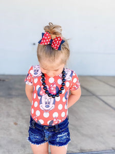 Red White Polka Dot GLITTER Bow Headband | Hair Clip