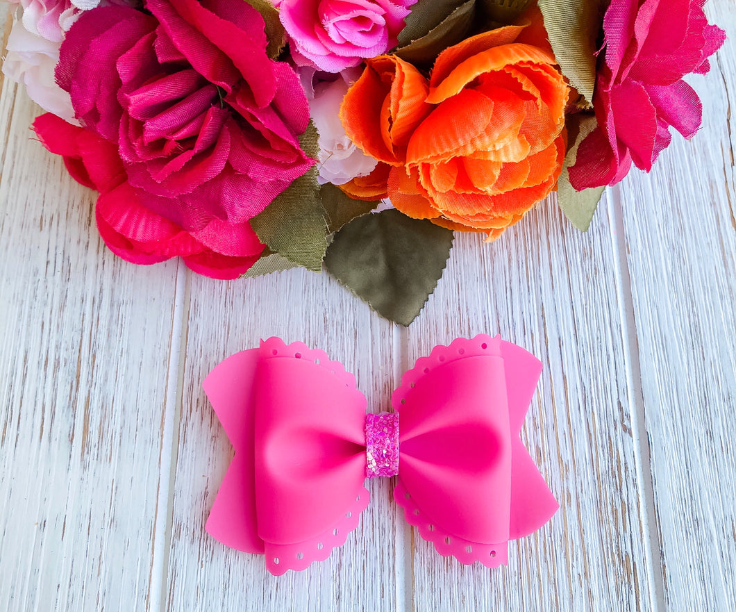 Scalloped Pink Jelly Pool Bow Headband | Hair Clip
