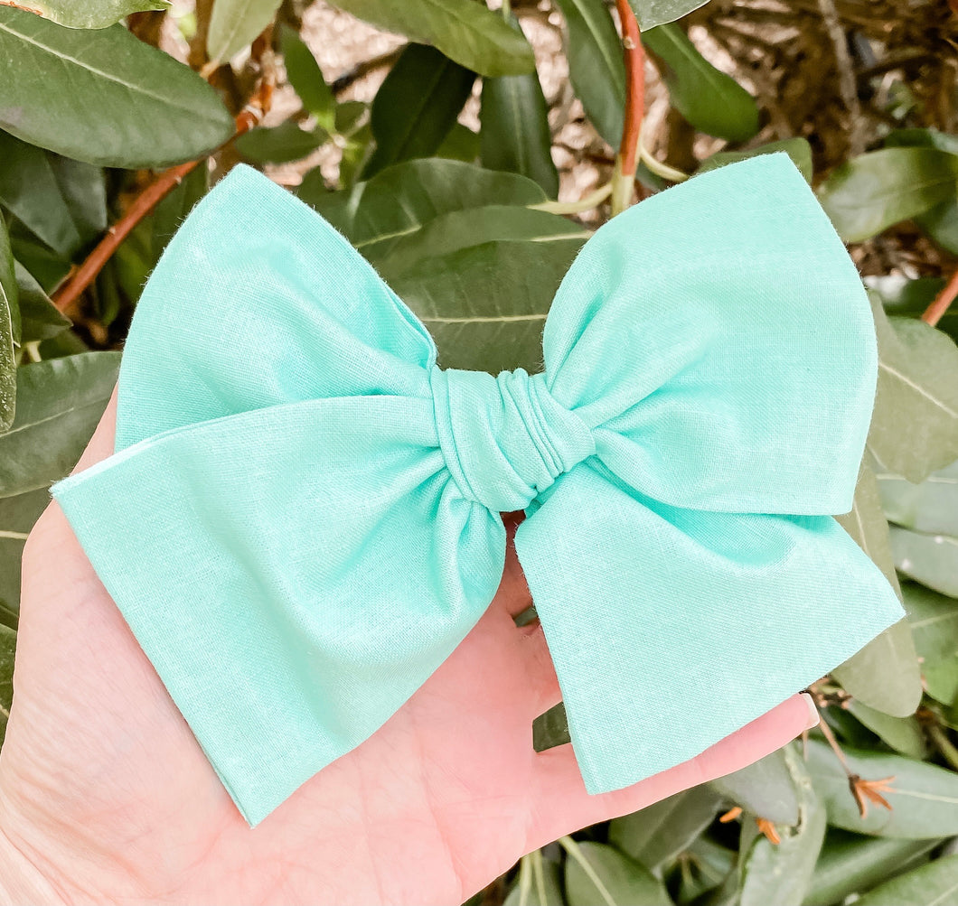 Turquoise Green Hand Tied Fabric Bow Headband | Hair Clip
