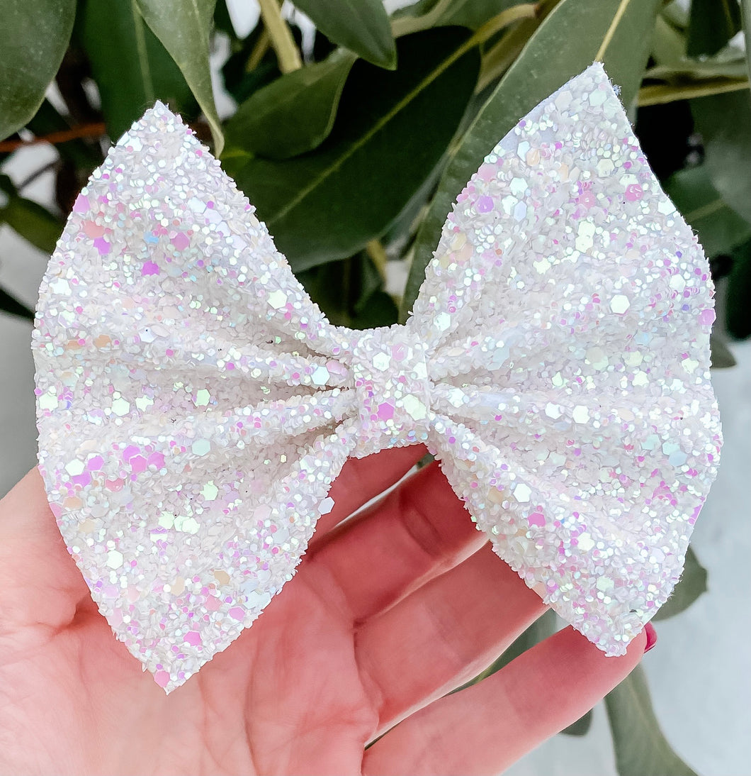 White Princess Glitter Mix Bow Headband | Hair Clip