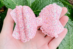 Scalloped Seashell Pink Glitter Bow Headband | Hair Clip