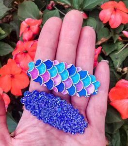 Scalloped Mermaid SET OF 2 Snap Clips